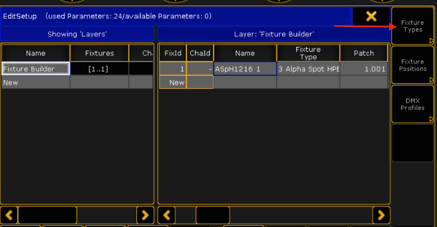 into lighting. In The MA2, Go Into Patch \u0026 Fixture Schedule → Types (top Right Button) Lighting I