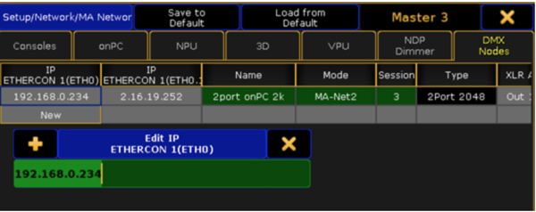 MA Network Configuration Window Simply Right Click In The Field Under IP Ethercon 1 ETH0 Column And Set New Address