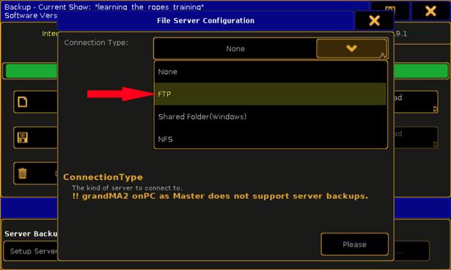 Setting Up FTP Server Backup on MA2   A C T Lighting Inc